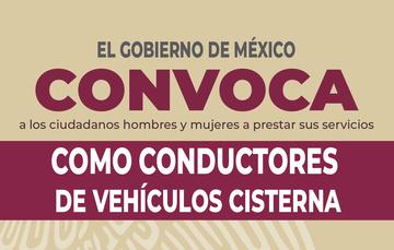 Banner de convocatoria para conductores de vehículos cisterna.