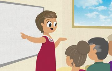 Ilustración de maestra enseñando náhualt a tres personas.