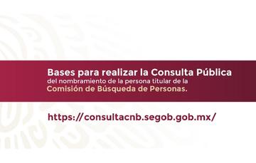 Consulta pública para el nombramiento de la persona titular de la Comisión Nacional de Búsqueda de Personas