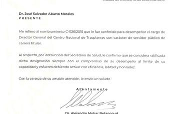 El Comisionado de la CCINSHAE ratifica al Director General del Centro Nacional de Trasplantes.
