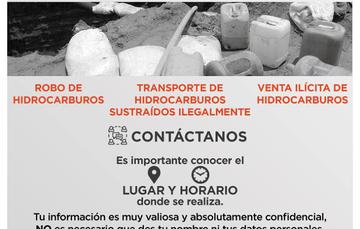imagen de contenedores de gasolina con leyenda: La Fiscalía General de la República solicita tu ayuda. Infórmanos sobre robo de hidrocarburo
