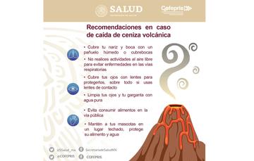 COFEPRIS emite recomendaciones en caso de caída de ceniza volcánica
