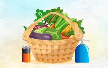 Canasta con frutas y verduras en su interior, afuera cuenta tiene una pila y jabón  corporal