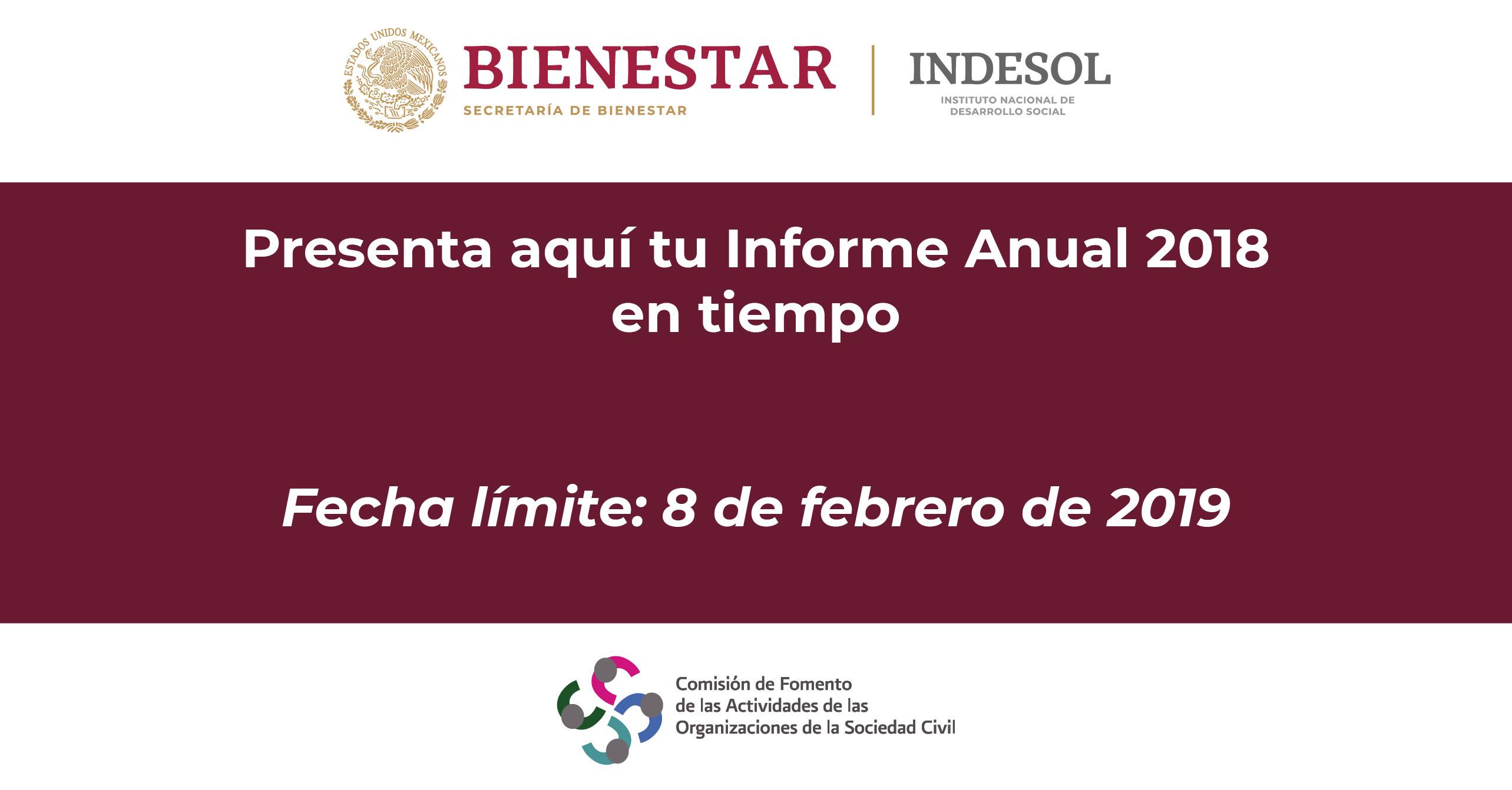 """Banner """"presenta aquí tu informe anual 2018 en tiempo"""""""