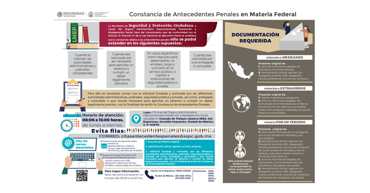 Constancia de Antecedentes Penales en Materia Federal.