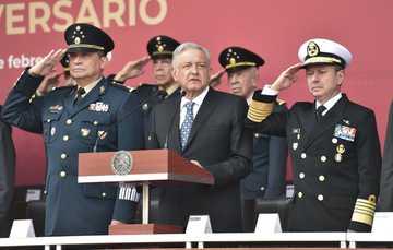 El presidente de México, Andrés Manuel López Obrador, durante el 106 aniversario de la Marcha de la Lealtad