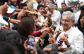 El presidente de México, Andrés Manuel López Obrador, durante la entrega de Becas Benito Juárez Educación Media Superior