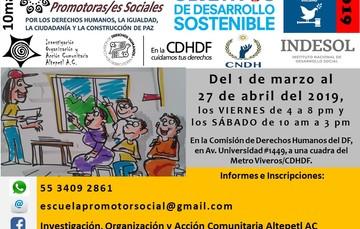 Cartel Escuela de Promotoras/es Sociales por los derechos humanos, la igualdad, la ciudadanía y la construcción de paz
