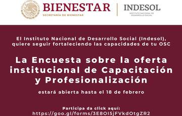 Invitación a participar en la Encuesta sobre la oferta institucional de Capacitación y Profesionalización