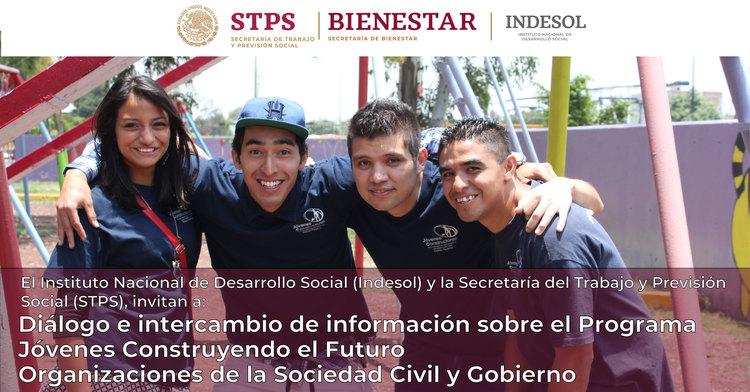 Banner sobre el Diálogo e Intercambio de información sobre el Programa Jóvenes Construyendo el Futuro OSC y Gobierno
