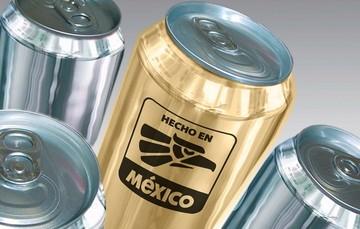 Latas con el logotipo de Hecho en México