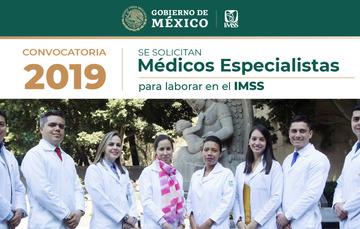 Gráfico de la convocatoria 2019 con foto de ocho médicos del Seguro Social.