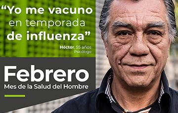"""""""Yo me vacuno en temporada de influenza"""",  Héctor, 55 años, Psicólogo"""