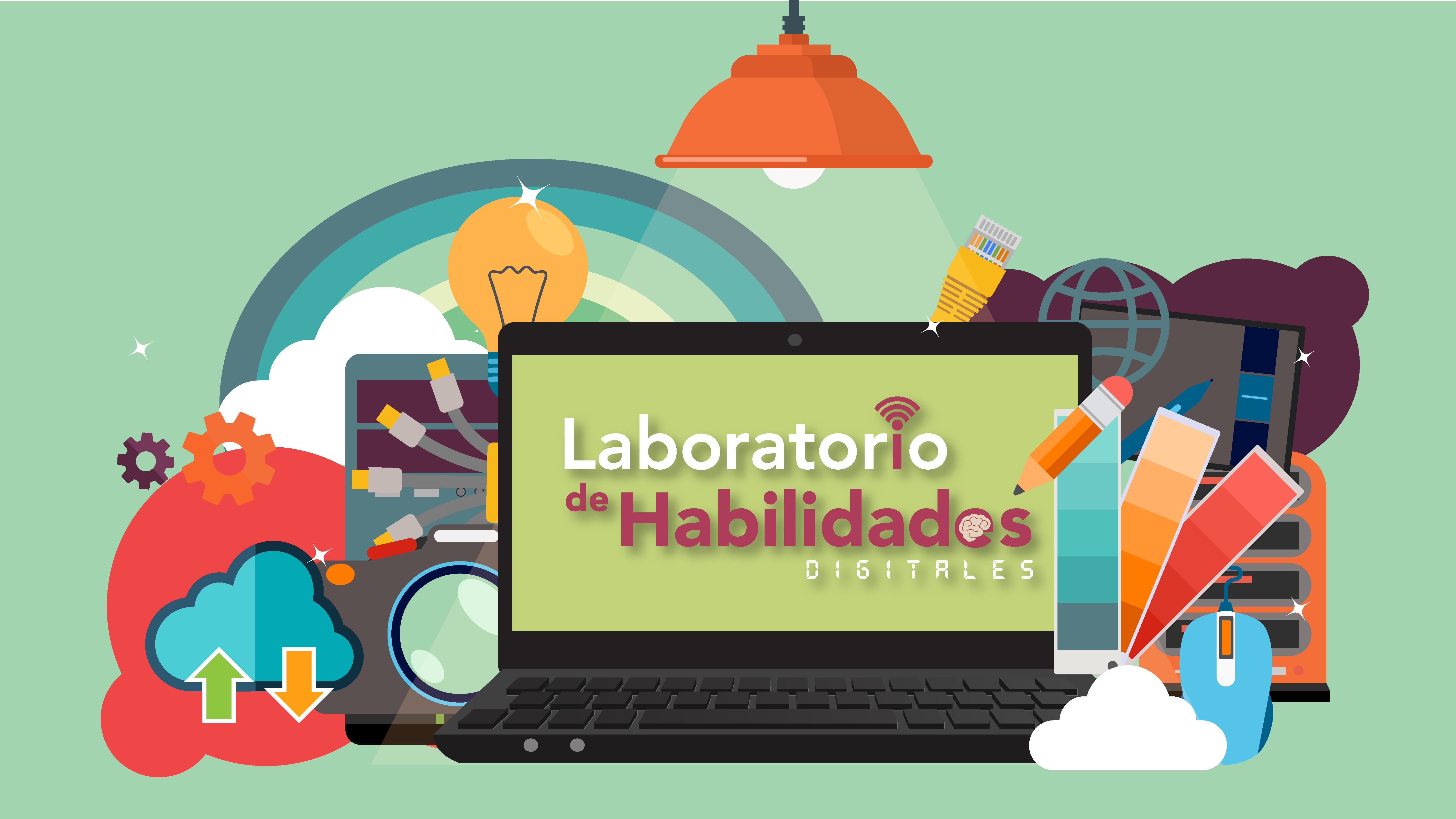 """Una laptop en su pantalla tiene escrita la frase """"Laboratorio de Habilidades Digitales"""": Alrededor de ella se encuentran artículos tecnológicos y de papelería. Con nubes y arcoíris para adornar la información."""