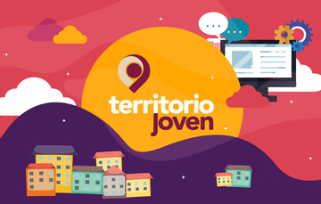 Logotipo e ilustración del programa Centros Territorio Joven, espacios para las y los jóvenes en diversos puntos de México