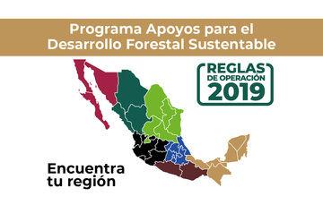 Imagen de mapa de México con distinción por colores de las 7 regiones.