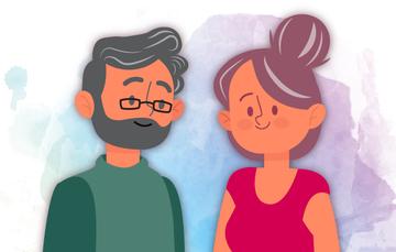 Ilustración de una adulta y adulto mayor sonriendo.