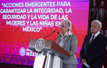 Olga Sánchez Cordero durante la Conferencia del Presidente
