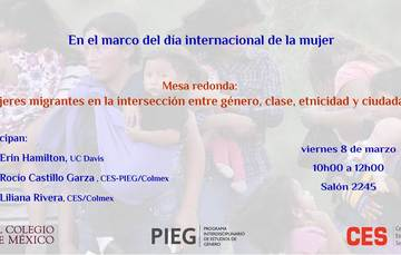 Invitación a mesa redonda: mujeres migrantes en la intersección entre genero, clase, etnicidad y ciudadanía. Convoca el COLMEX