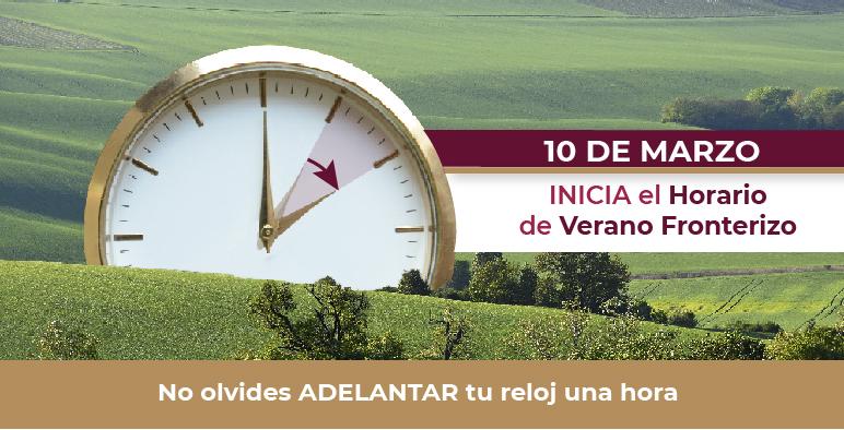 Ilustración de un reloj que señala que hay que adelantar una hora el reloj.