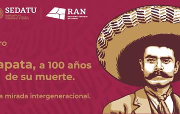 """Imagen roja del General Emiliano Zapata, con la leyenda """"Zapata, a 100 años de su muerte"""""""