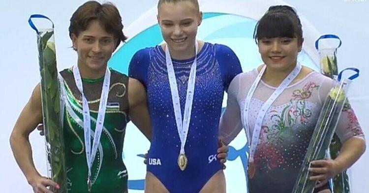 La gimnasta subió al podio en la prueba de salto de caballo con 14.249.