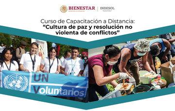 """Banner invitación al curso de capacitación a distancia """"Cultura de paz y resolución no violenta de conflictos"""""""