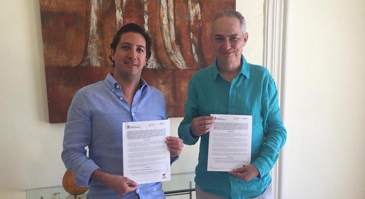 El Secretario de Finanzas del Estado de México, Rodrigo Jarque y el Director General Adjunto de Banca de Inversión de Banobras, Sergio Forte, firmaron un Convenio de colaboración para promover proyectos de infraestructura en el Edomex.
