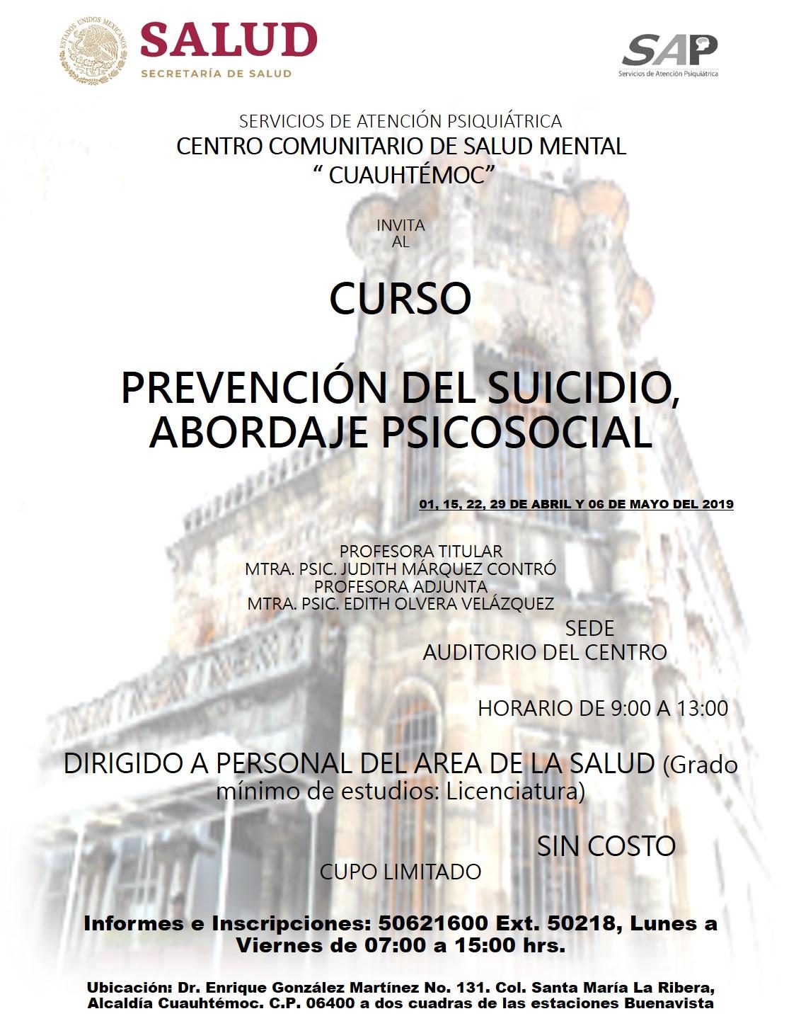 Prevencion suicidio ccsmc 1 15 22 29 abr y 6 may 2019