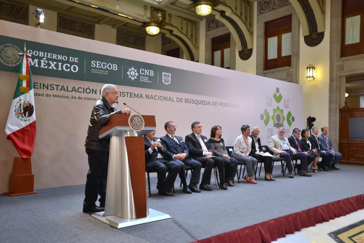 Presidente de México, Andrés Manuel López Obrador, durante la Reinstalación del Sistema Nacional de Búsqueda de Personas