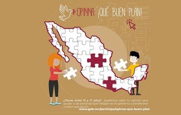 Chica y chico adolescentes terminan de armar el mapa de México tipo rompecabezas.
