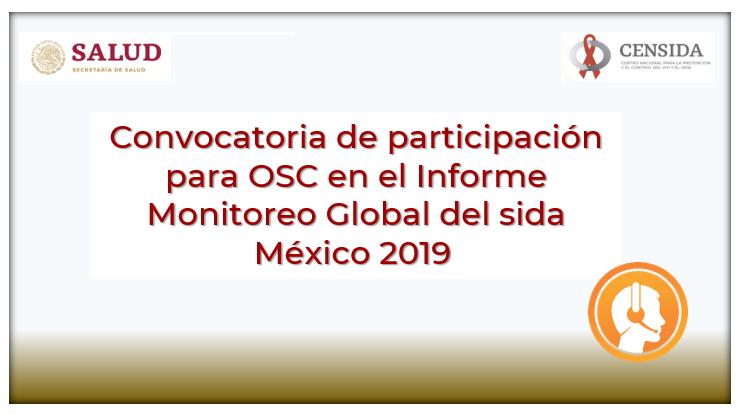 Convocatoria de participación para OSC en el Informe Monitoreo Global del sida México 2019