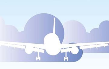 Ilustración de avión en despegue.