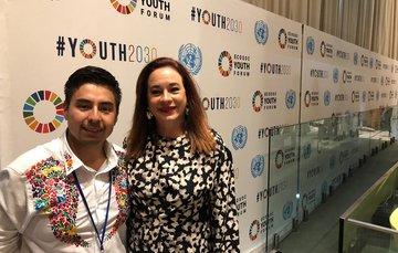 Guillermo Santiago titular del imjuve durante el foro de juventud de ECOSOC Youth2030 en la sede de la Onu.