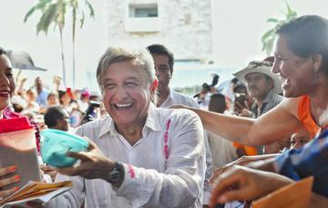 El presidente de México, Andrés Manuel López Obrador, en Campeche, Campeche.