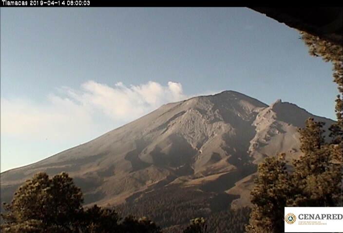 En las últimas 24 horas, por medio de los sistemas de monitoreo del volcán Popocatépetl, se identificaron 46 exhalaciones, un sismo volcanotectónico y 221 minutos de tremor.