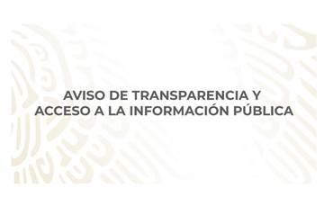 """Cuadro de texto con la leyenda """"Aviso de transparencia y acceso a la información pública"""""""