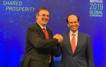 El secretario de Relaciones Exteriores Marcelo Ebrard participó en la Conferencia Global 2019 del Instituto Milken