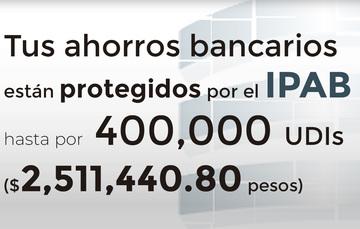 Tus ahorros bancarios protegidos hasta por 400 mil UDIs al 21 de mayo de 2019.