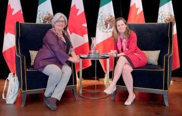 Reunión de la Secretaria de Economía, Graciela Márquez, con la Ministra de Relaciones Exteriores de Canadá, Chrystia Freeland