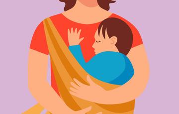Ilustración de mamá con bebé.