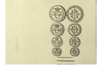 Algunas monedas acuñadas se pueden ver
