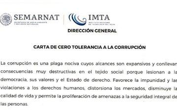 Carta de cero tolerancia a la corrupción