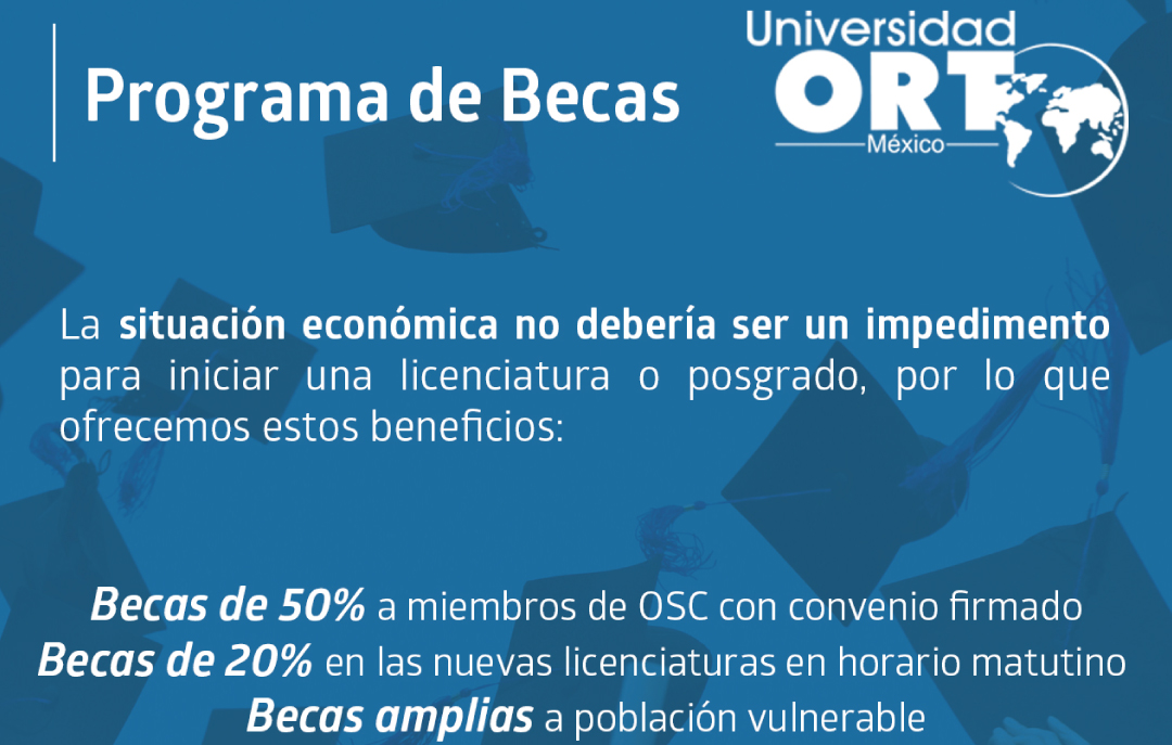 Banner del Programa de Becas de la Universidad ORT México