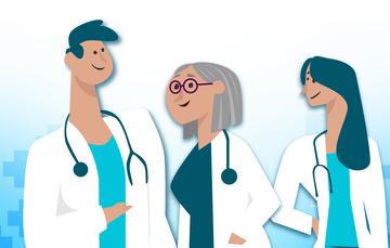 Foto de tres médicos. Dos doctas y un doctor.