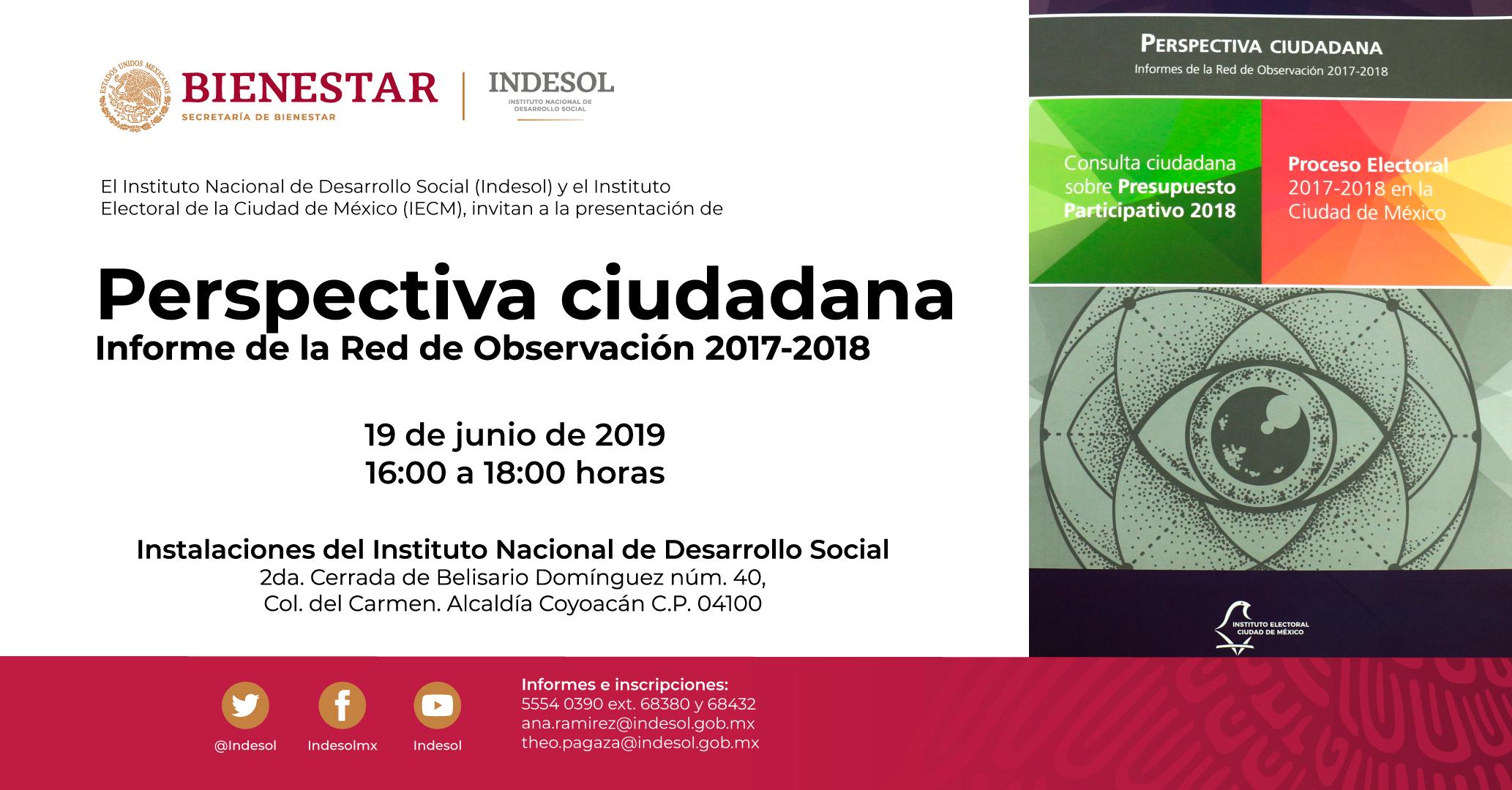 Invitación a participar en la presentación del libro Perspectiva Ciudadana, Informe de la Red de Observación 2017-2018