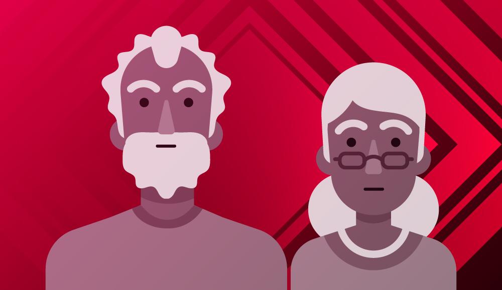 Ilustración de dos personas adultas mayores.