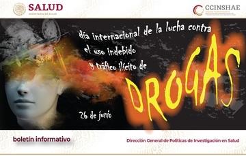 Imagen con la leyenda 26 de junio, Día Internacional de la lucha contra el uso indebido y tráfico ilícito de Drogas
