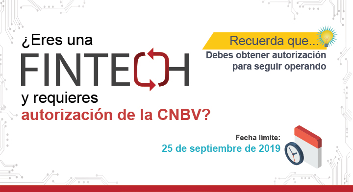 CNBV recuerda a las personas que realicen actividades de Instituciones de Tecnología Financiera