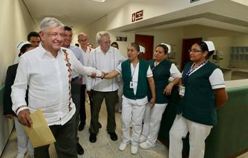 El presidente de México, Andrés Manuel López Obrador, durante el diálogo con la Comunidad del Hospital Rural Venustiano Carranza, Chiapas.
